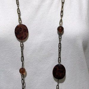 Jewelry - Long Tortoise Patterned Necklace on Bronze Chain